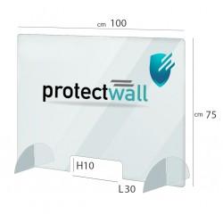 Barriera pannello parafiato plexiglass CERTIFICATA h70x100L
