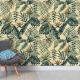 carta_da_parati_tropicale_natura_verde_giallo_vintage_pappagalli
